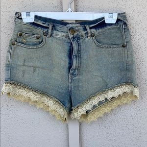 Free People Lace High Waisted Shorts